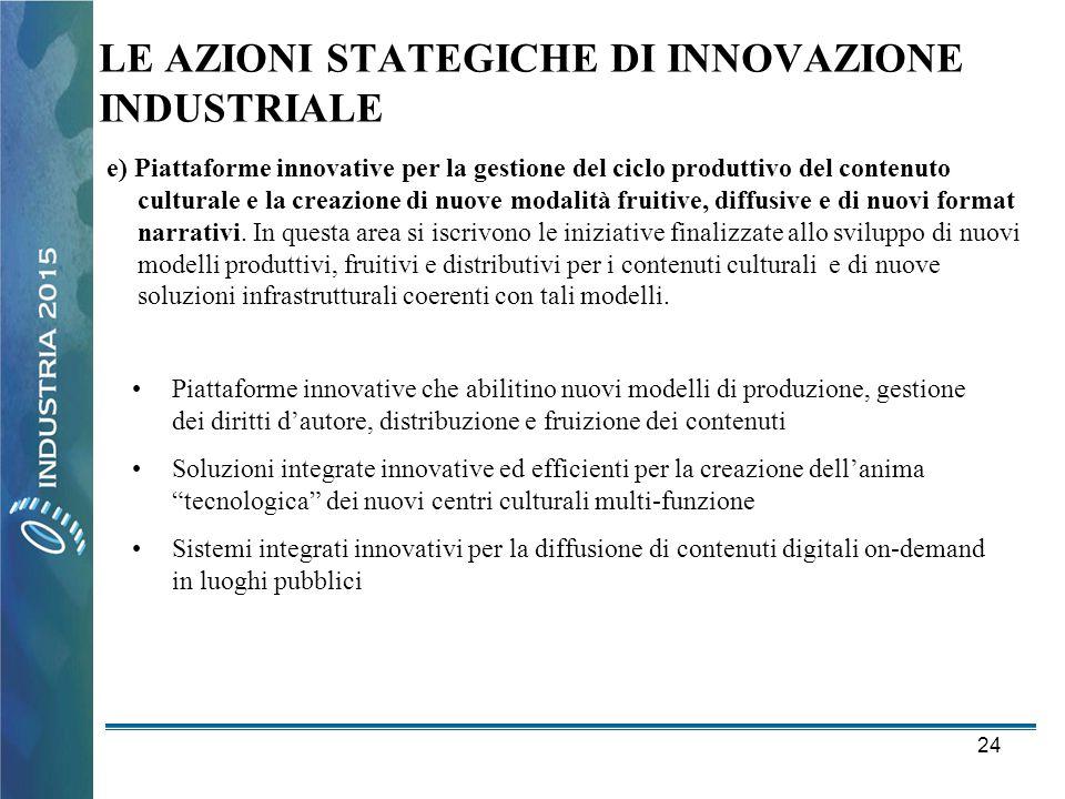 24 LE AZIONI STATEGICHE DI INNOVAZIONE INDUSTRIALE e) Piattaforme innovative per la gestione del ciclo produttivo del contenuto culturale e la creazio