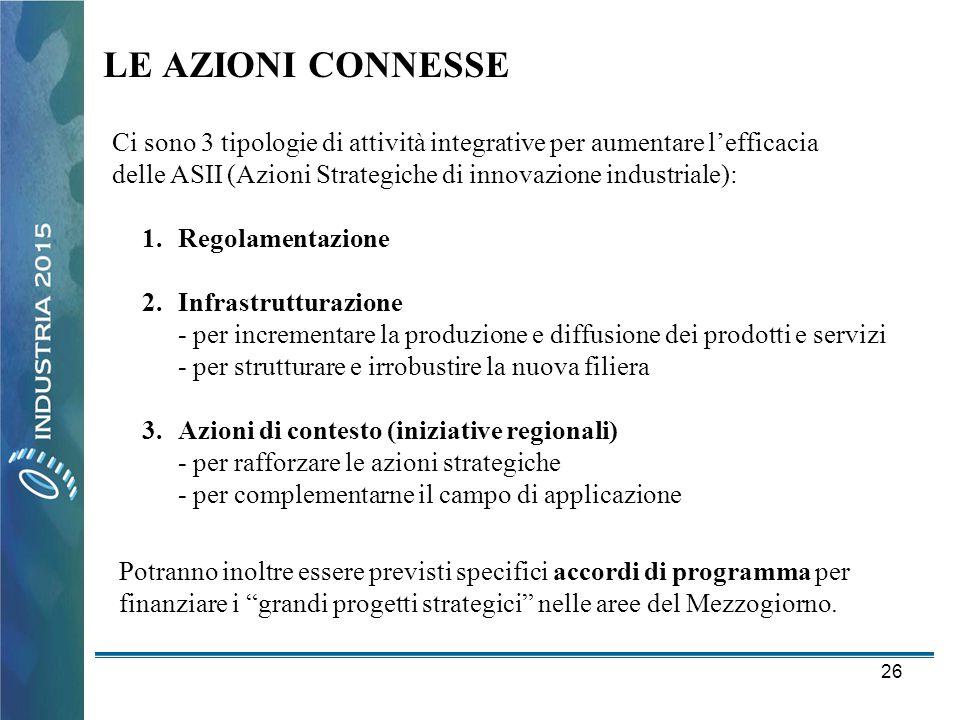26 LE AZIONI CONNESSE Ci sono 3 tipologie di attività integrative per aumentare l'efficacia delle ASII (Azioni Strategiche di innovazione industriale)