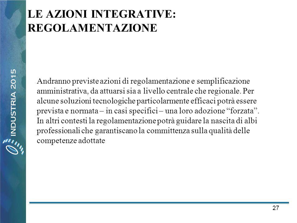 27 LE AZIONI INTEGRATIVE: REGOLAMENTAZIONE Andranno previste azioni di regolamentazione e semplificazione amministrativa, da attuarsi sia a livello ce