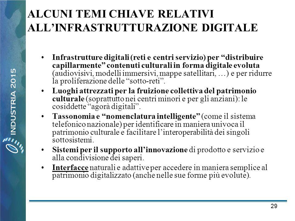 """29 ALCUNI TEMI CHIAVE RELATIVI ALL'INFRASTRUTTURAZIONE DIGITALE •Infrastrutture digitali (reti e centri servizio) per """"distribuire capillarmente"""" cont"""
