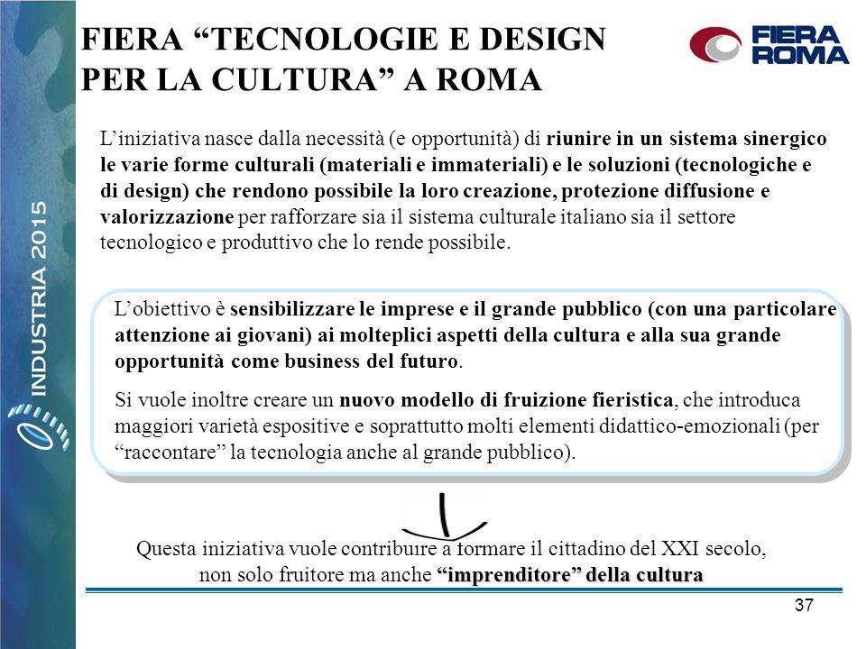 """37 FIERA """"TECNOLOGIE E DESIGN PER LA CULTURA"""" A ROMA L'obiettivo è sensibilizzare le imprese e il grande pubblico (con una particolare attenzione ai g"""