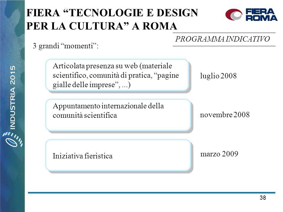"""38 FIERA """"TECNOLOGIE E DESIGN PER LA CULTURA"""" A ROMA Articolata presenza su web (materiale scientifico, comunità di pratica, """"pagine gialle delle impr"""