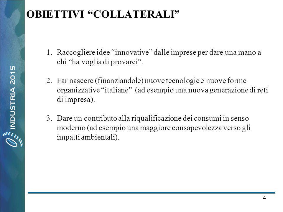 """4 OBIETTIVI """"COLLATERALI"""" 1.Raccogliere idee """"innovative"""" dalle imprese per dare una mano a chi """"ha voglia di provarci"""". 2.Far nascere (finanziandole)"""
