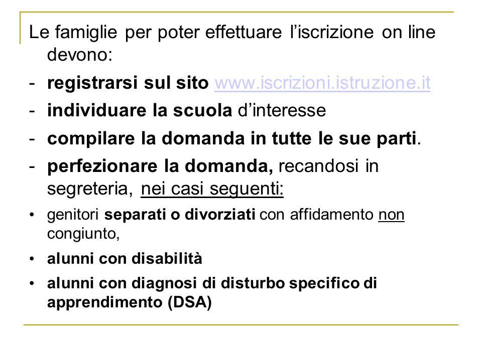 Le famiglie per poter effettuare l'iscrizione on line devono: -registrarsi sul sito www.iscrizioni.istruzione.itwww.iscrizioni.istruzione.it -individuare la scuola d'interesse -compilare la domanda in tutte le sue parti.