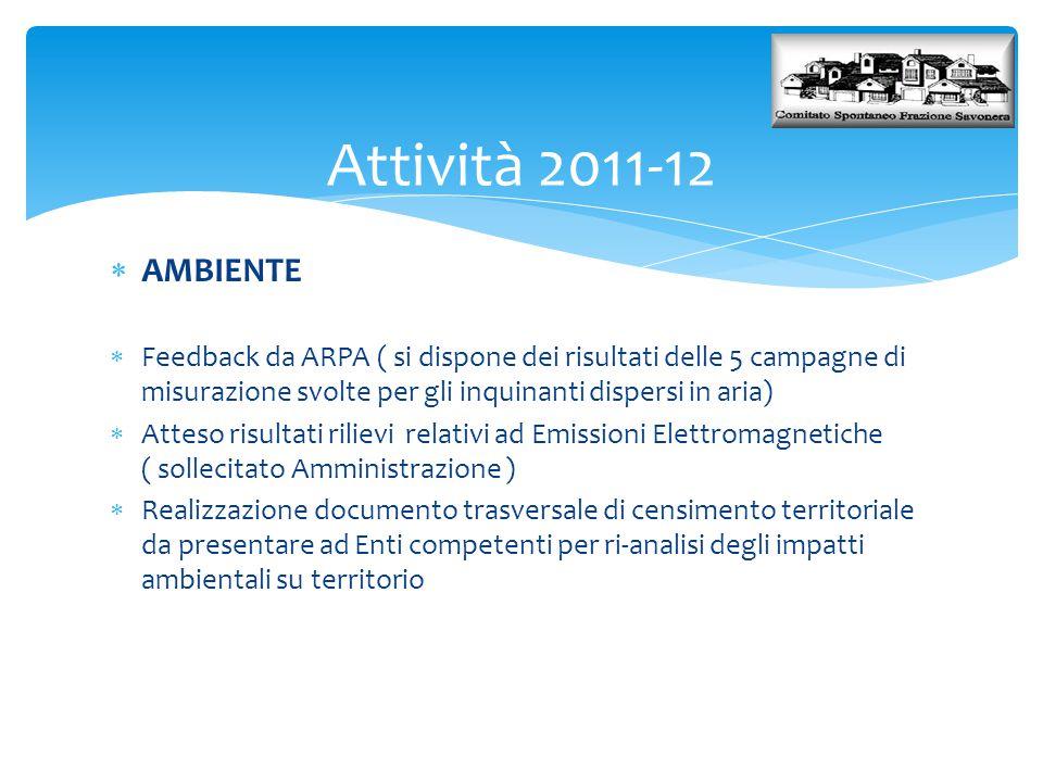  AMBIENTE  Feedback da ARPA ( si dispone dei risultati delle 5 campagne di misurazione svolte per gli inquinanti dispersi in aria)  Atteso risultat