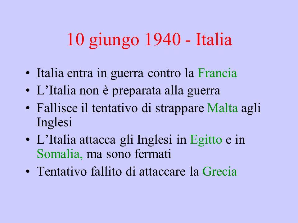 10 giungo 1940 - Italia Italia entra in guerra contro la Francia L'Italia non è preparata alla guerra Fallisce il tentativo di strappare Malta agli In