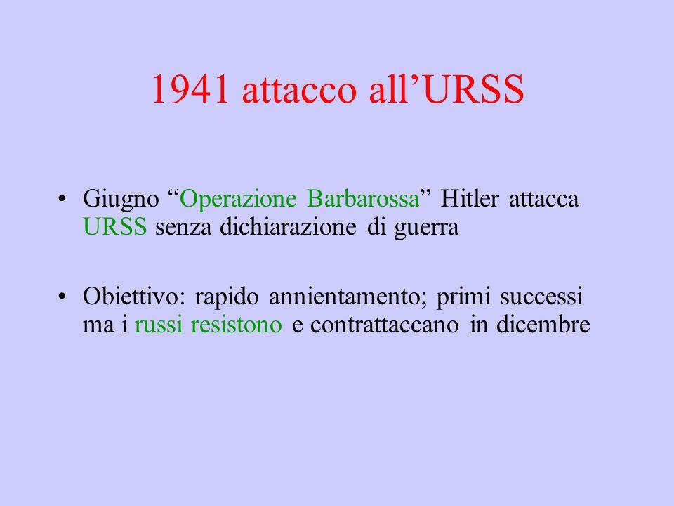 """1941 attacco all'URSS Giugno """"Operazione Barbarossa"""" Hitler attacca URSS senza dichiarazione di guerra Obiettivo: rapido annientamento; primi successi"""