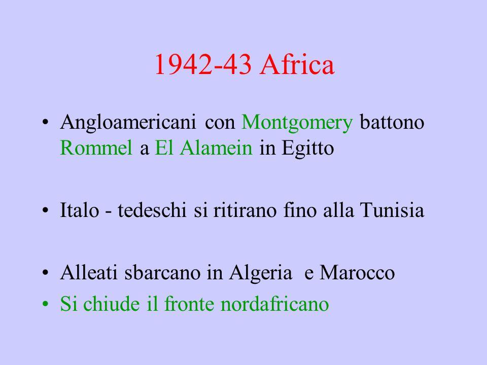 1942-43 Africa Angloamericani con Montgomery battono Rommel a El Alamein in Egitto Italo - tedeschi si ritirano fino alla Tunisia Alleati sbarcano in