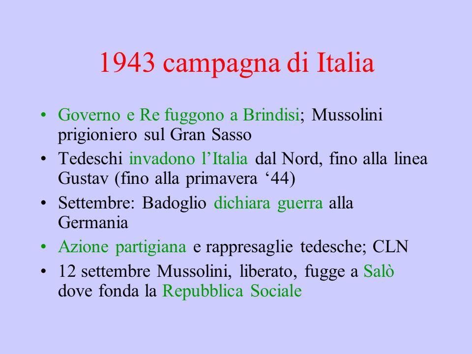 1943 campagna di Italia Governo e Re fuggono a Brindisi; Mussolini prigioniero sul Gran Sasso Tedeschi invadono l'Italia dal Nord, fino alla linea Gus