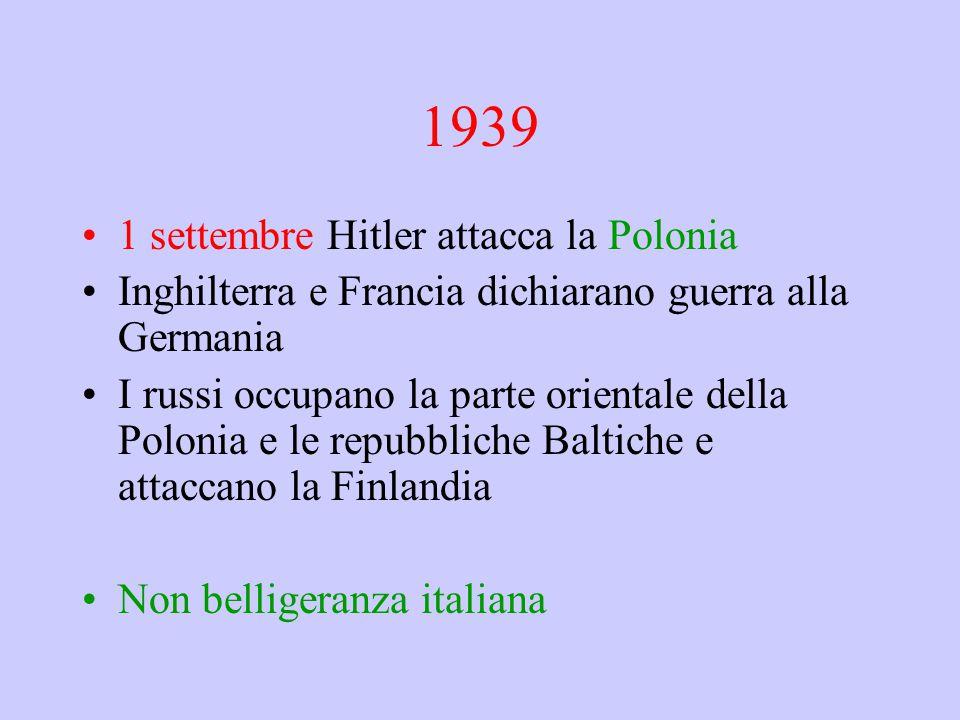 1939 1 settembre Hitler attacca la Polonia Inghilterra e Francia dichiarano guerra alla Germania I russi occupano la parte orientale della Polonia e l