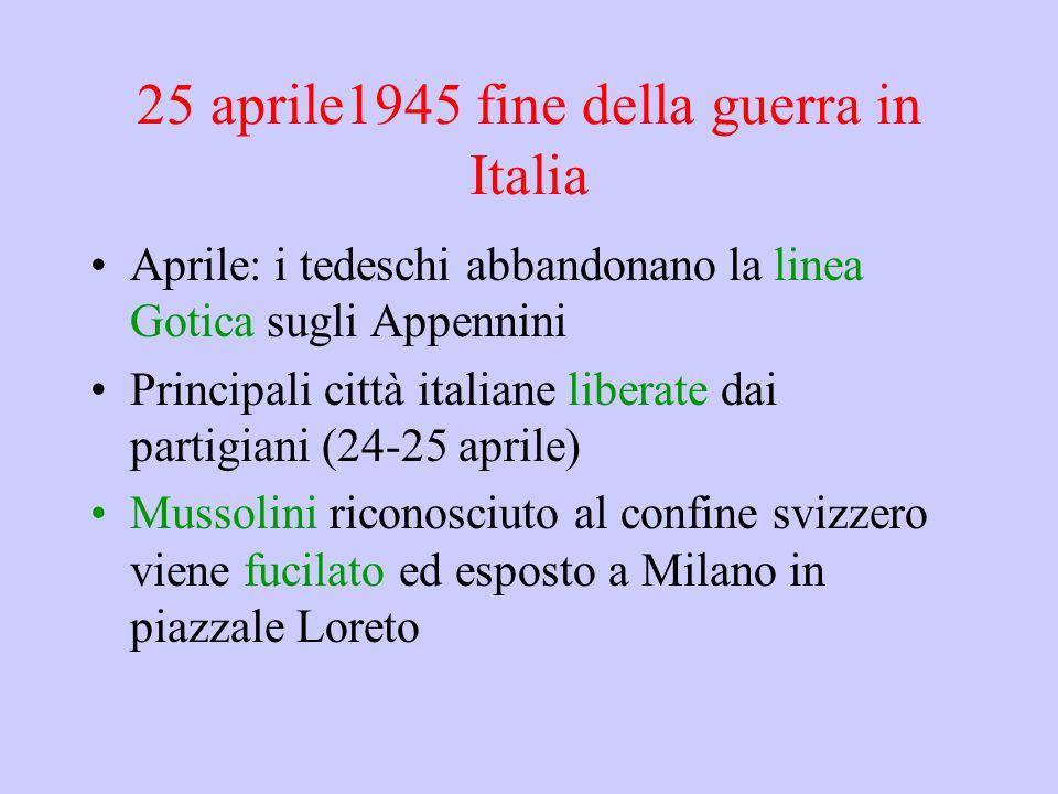 25 aprile1945 fine della guerra in Italia Aprile: i tedeschi abbandonano la linea Gotica sugli Appennini Principali città italiane liberate dai partig