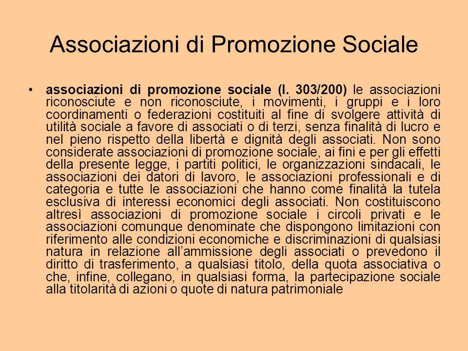 Associazioni di Promozione Sociale associazioni di promozione sociale (l.