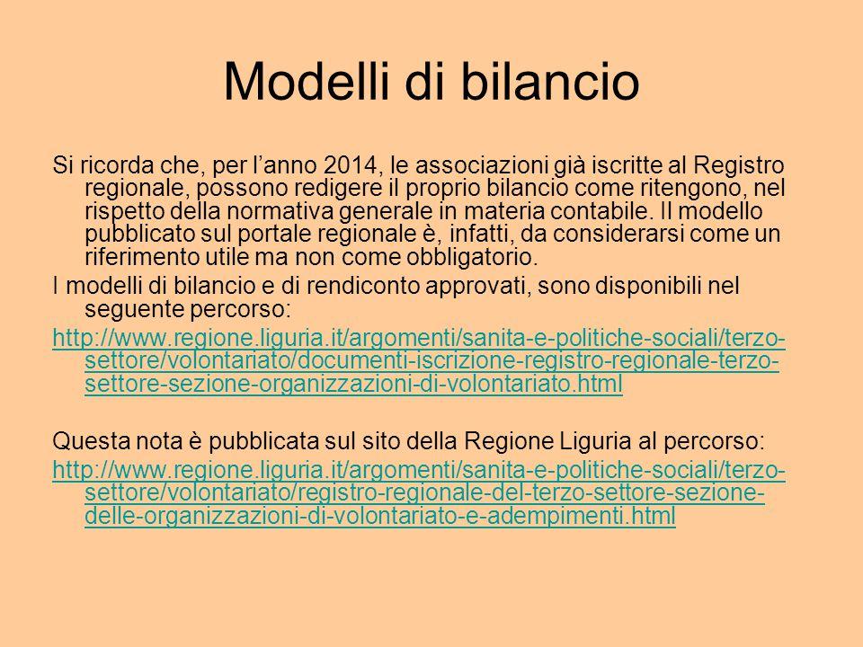 Modelli di bilancio Si ricorda che, per l'anno 2014, le associazioni già iscritte al Registro regionale, possono redigere il proprio bilancio come ritengono, nel rispetto della normativa generale in materia contabile.