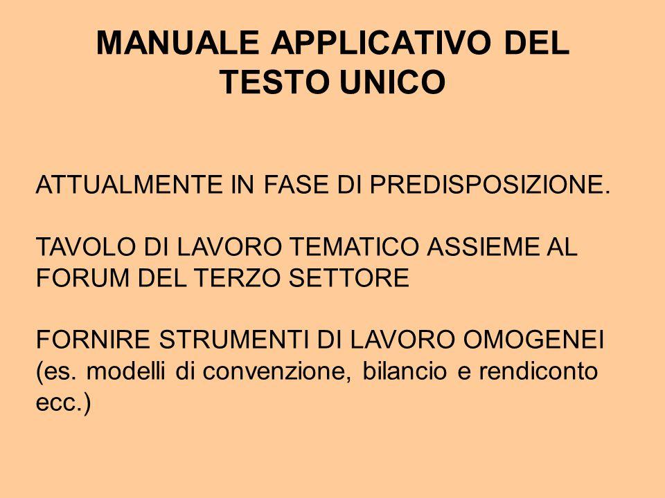 MANUALE APPLICATIVO DEL TESTO UNICO ATTUALMENTE IN FASE DI PREDISPOSIZIONE.
