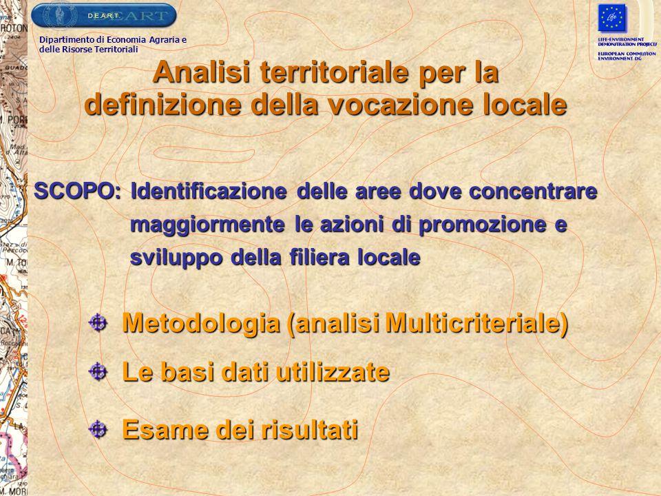 Analisi territoriale per la definizione della vocazione locale Metodologia (analisi Multicriteriale) Metodologia (analisi Multicriteriale) Le basi dat