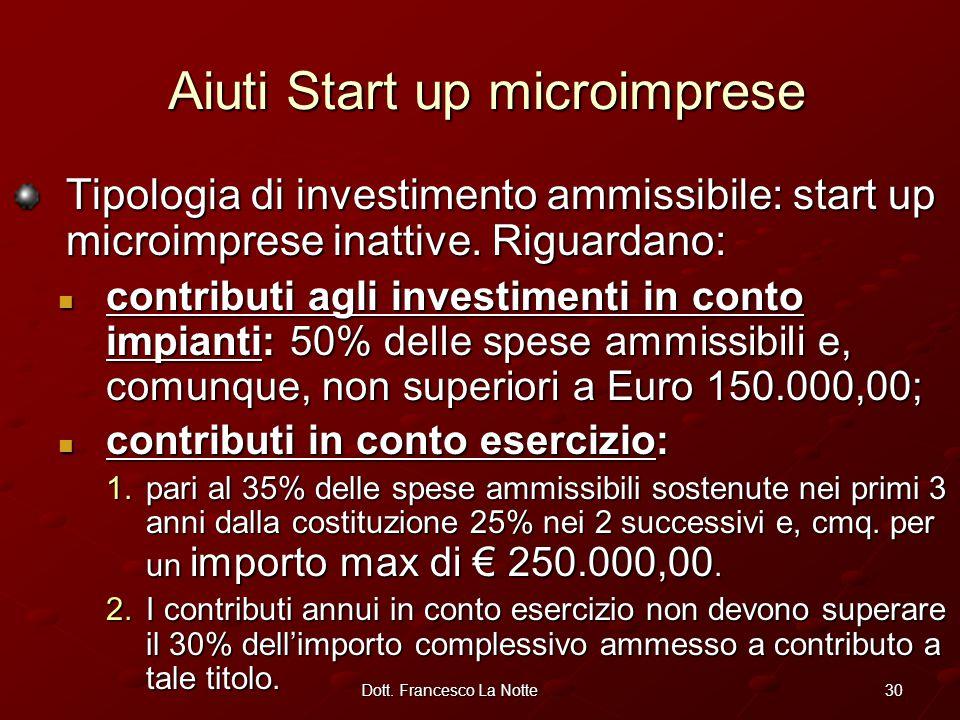 30Dott. Francesco La Notte Tipologia di investimento ammissibile: start up microimprese inattive.