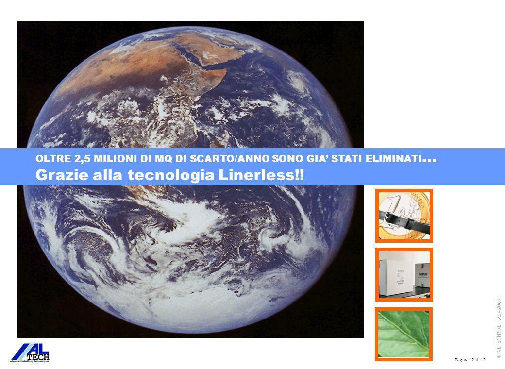Pagina 12 di 12 © ALTECH SRL - May 2009 OLTRE 2,5 MILIONI DI MQ DI SCARTO/ANNO SONO GIA' STATI ELIMINATI … Grazie alla tecnologia Linerless!!