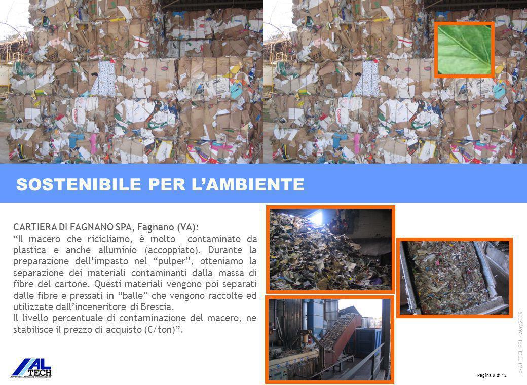 Pagina 8 di 12 © ALTECH SRL - May 2009 CARTIERA DI FAGNANO SPA, Fagnano (VA): Il macero che ricicliamo, è molto contaminato da plastica e anche alluminio (accoppiato).