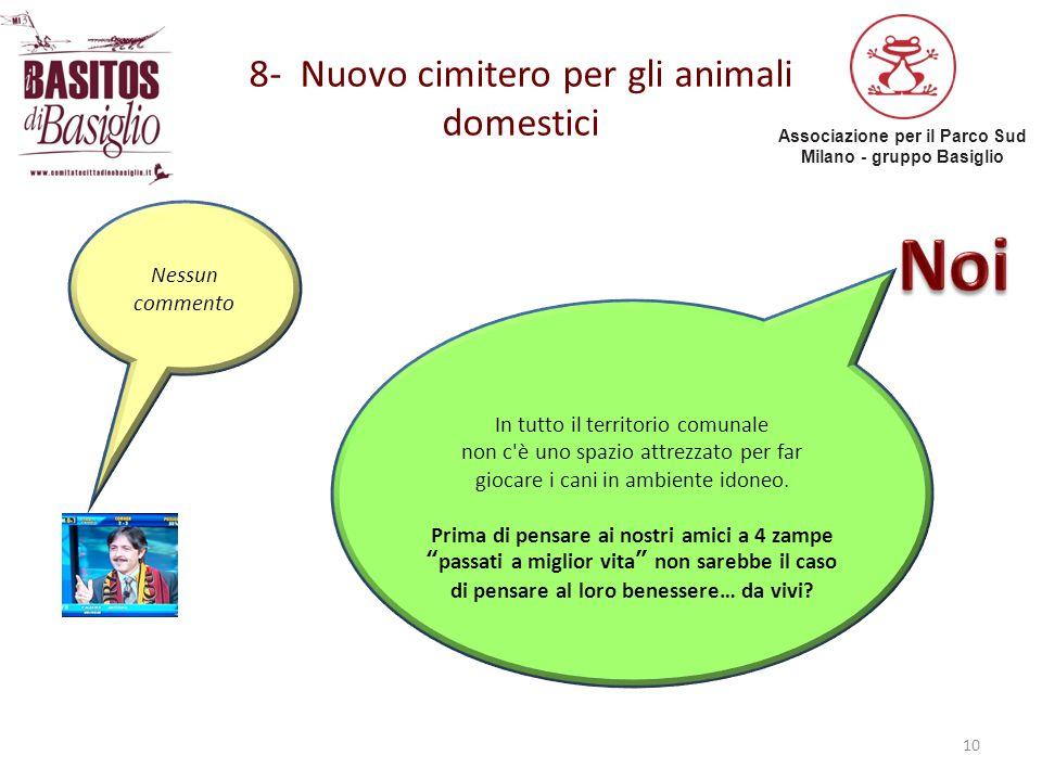 Associazione per il Parco Sud Milano - gruppo Basiglio 8- Nuovo cimitero per gli animali domestici 10 Nessun commento In tutto il territorio comunale