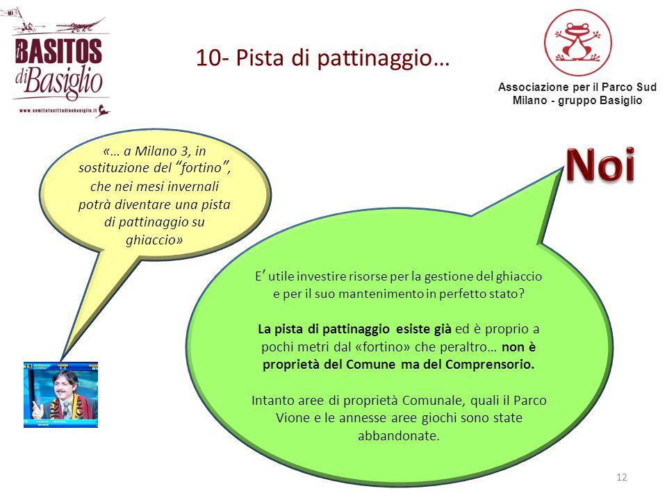 """Associazione per il Parco Sud Milano - gruppo Basiglio 10- Pista di pattinaggio… 12 «… a Milano 3, in sostituzione del """"fortino"""", che nei mesi inverna"""