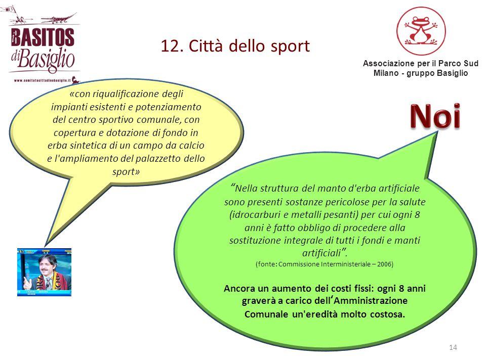Associazione per il Parco Sud Milano - gruppo Basiglio 12. Città dello sport 14 «con riqualificazione degli impianti esistenti e potenziamento del cen