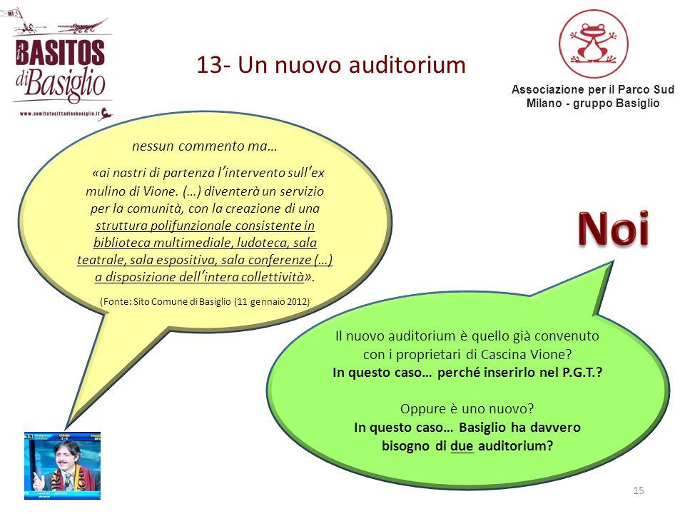 Associazione per il Parco Sud Milano - gruppo Basiglio 13- Un nuovo auditorium 15 nessun commento ma… «ai nastri di partenza l'intervento sull'ex muli