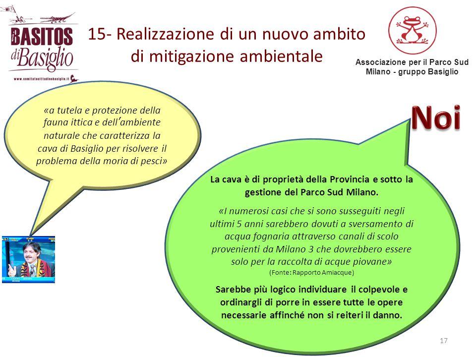 Associazione per il Parco Sud Milano - gruppo Basiglio 15- Realizzazione di un nuovo ambito di mitigazione ambientale 17 «a tutela e protezione della