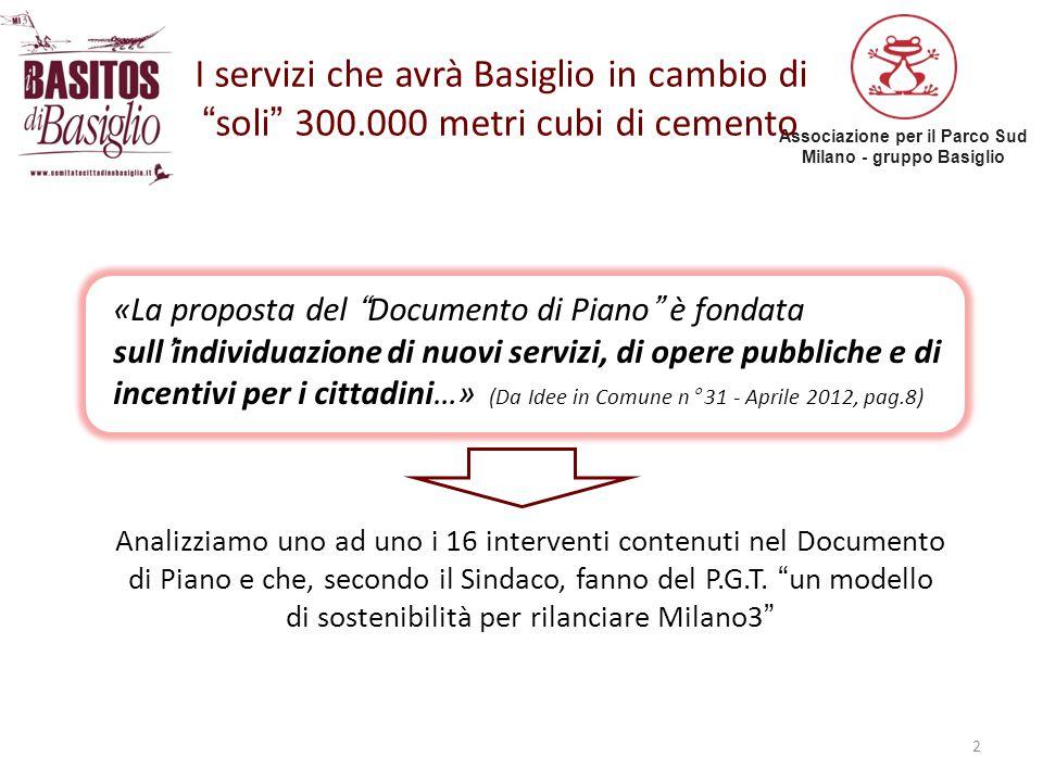 """Associazione per il Parco Sud Milano - gruppo Basiglio I servizi che avrà Basiglio in cambio di """"soli"""" 300.000 metri cubi di cemento «La proposta del"""