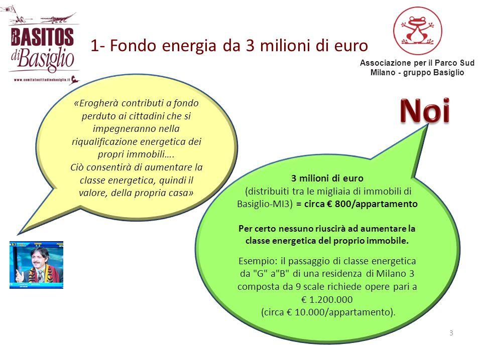 Associazione per il Parco Sud Milano - gruppo Basiglio 1- Fondo energia da 3 milioni di euro 3 «Erogherà contributi a fondo perduto ai cittadini che s