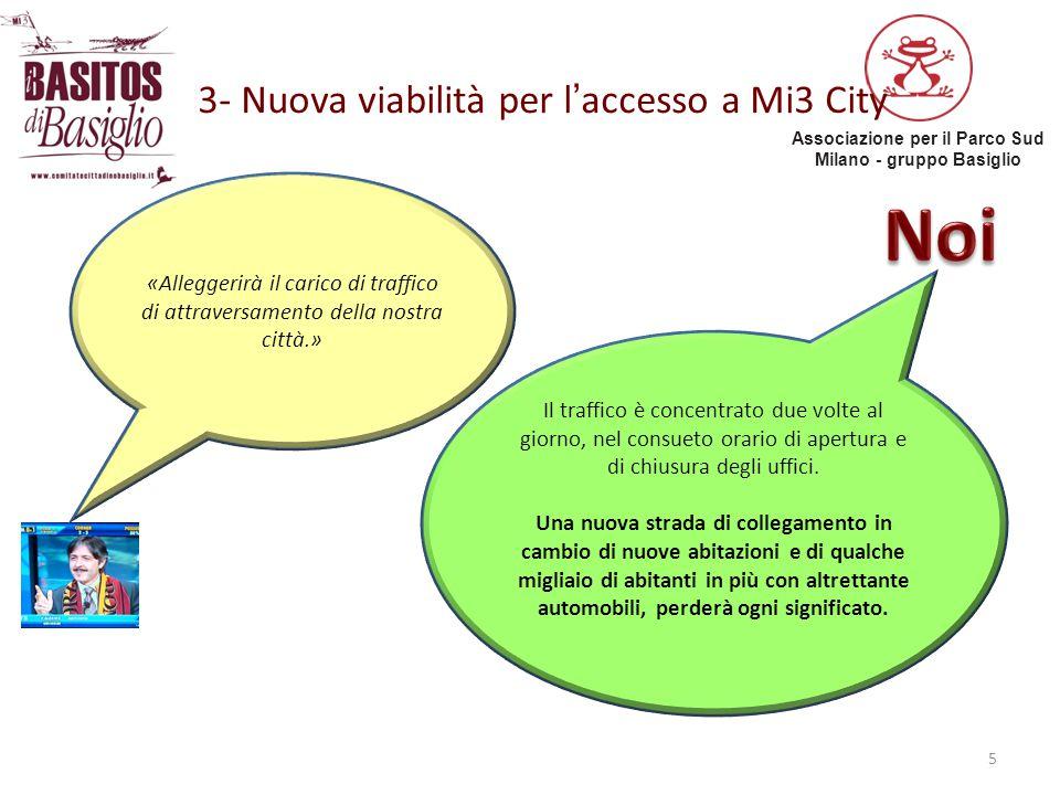 Associazione per il Parco Sud Milano - gruppo Basiglio 3- Nuova viabilità per l'accesso a Mi3 City 5 «Alleggerirà il carico di traffico di attraversam