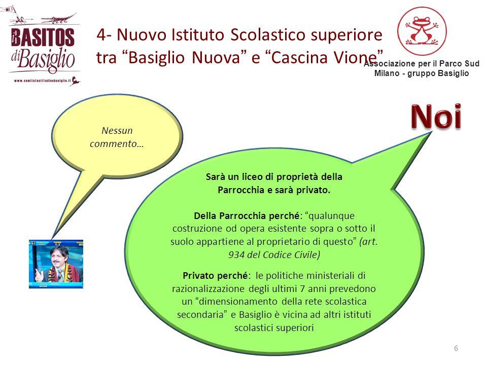 """Associazione per il Parco Sud Milano - gruppo Basiglio 4- Nuovo Istituto Scolastico superiore tra """"Basiglio Nuova"""" e """"Cascina Vione"""" 6 Nessun commento"""