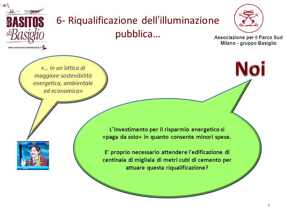 Associazione per il Parco Sud Milano - gruppo Basiglio 6- Riqualificazione dell'illuminazione pubblica… 8 «… in un'ottica di maggiore sostenibilità en