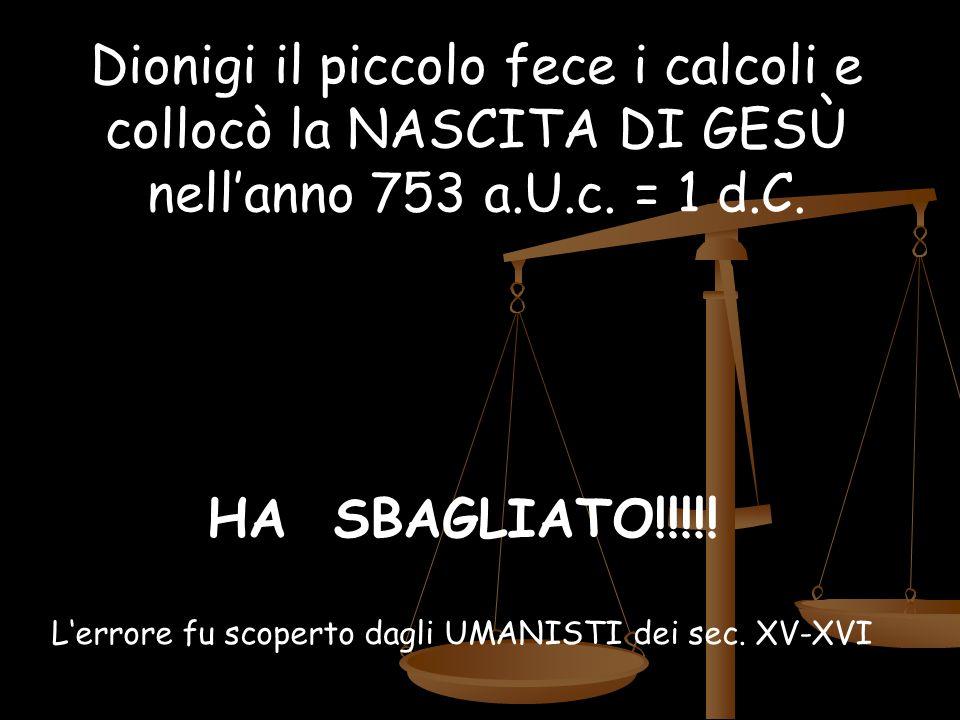 HA SBAGLIATO!!!!! L'errore fu scoperto dagli UMANISTI dei sec. XV-XVI Dionigi il piccolo fece i calcoli e collocò la NASCITA DI GESÙ nell'anno 753 a.U