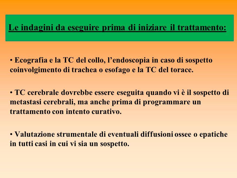 Ecografia e la TC del collo, l'endoscopia in caso di sospetto coinvolgimento di trachea o esofago e la TC del torace. TC cerebrale dovrebbe essere ese