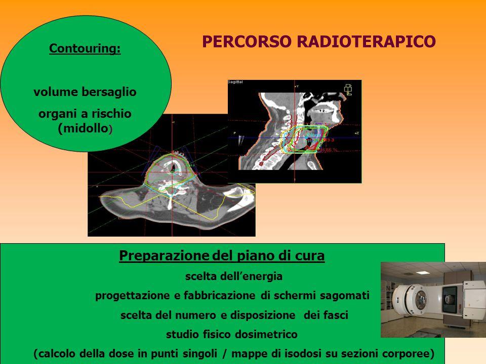 PERCORSO RADIOTERAPICO Preparazione del piano di cura scelta dell'energia progettazione e fabbricazione di schermi sagomati scelta del numero e dispos