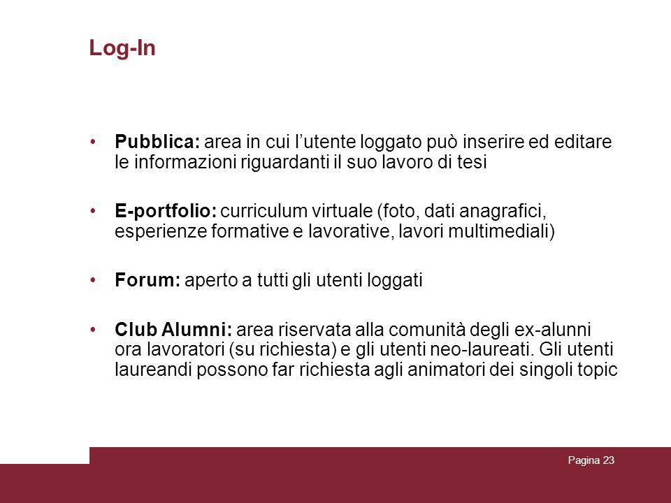 Pagina 23 Log-In Pubblica: area in cui l'utente loggato può inserire ed editare le informazioni riguardanti il suo lavoro di tesi E-portfolio: curricu