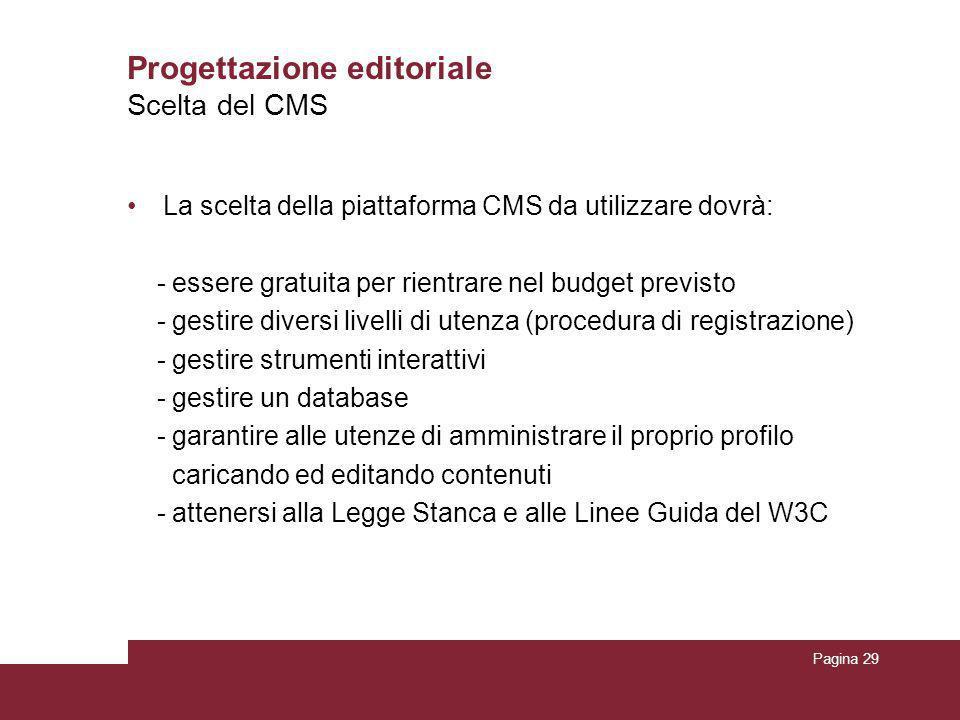 Pagina 29 Progettazione editoriale La scelta della piattaforma CMS da utilizzare dovrà: - essere gratuita per rientrare nel budget previsto - gestire