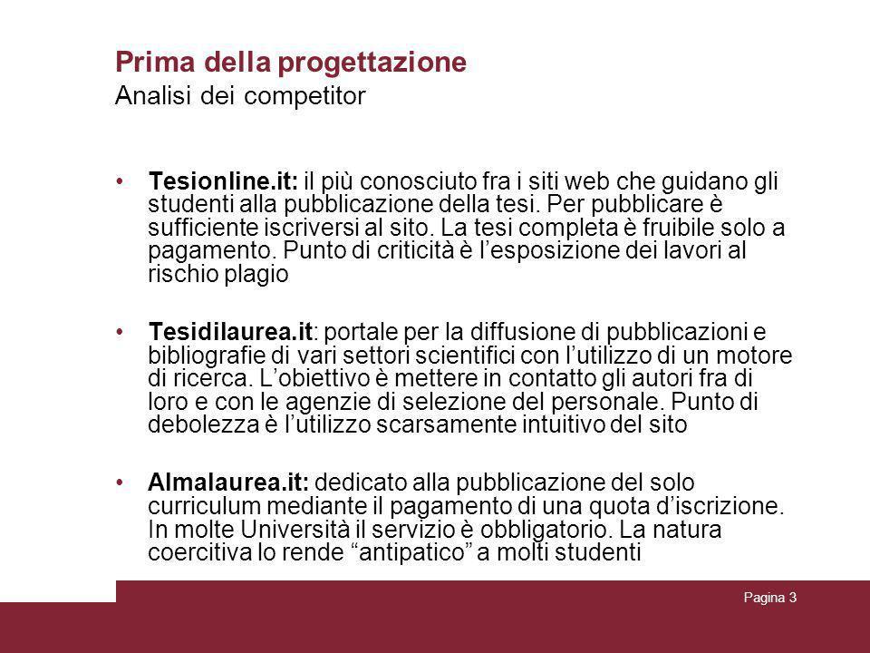 Pagina 3 Prima della progettazione Tesionline.it: il più conosciuto fra i siti web che guidano gli studenti alla pubblicazione della tesi. Per pubblic