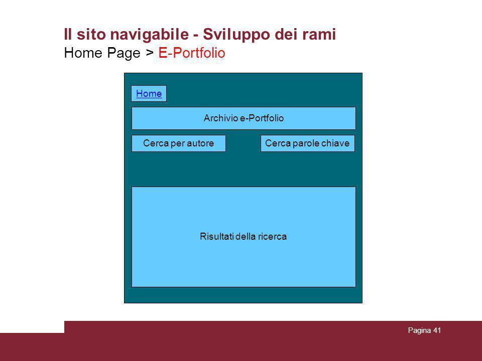 Pagina 41 Il sito navigabile - Sviluppo dei rami Home Page > E-Portfolio Archivio e-Portfolio Risultati della ricerca Cerca per autoreCerca parole chi
