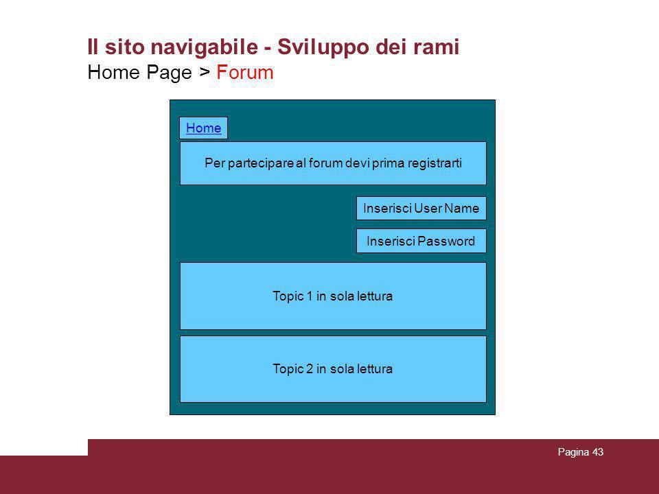 Pagina 43 Il sito navigabile - Sviluppo dei rami Home Page > Forum Per partecipare al forum devi prima registrarti Topic 2 in sola lettura Topic 1 in