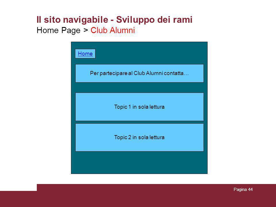 Pagina 44 Il sito navigabile - Sviluppo dei rami Home Page > Club Alumni Per partecipare al Club Alumni contatta… Topic 2 in sola lettura Topic 1 in s
