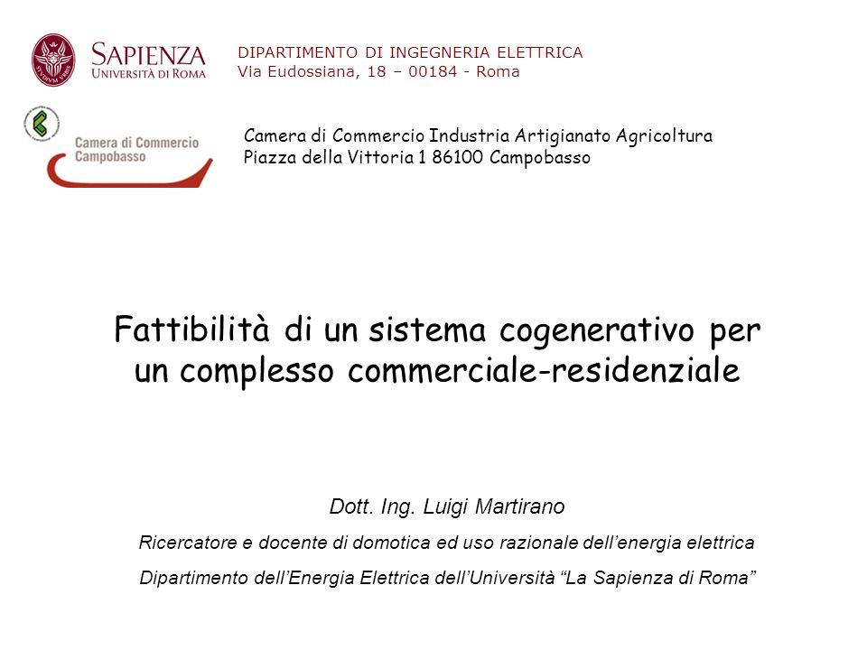 STUDIO DI FATTIBILITA' CASO 1 LA COGENERAZIONE E' ALLACCIATA AD UN IMPIANTO ELETTRICO CHE ALIMENTA ESCLUSIVAMENTE I SERVIZI CONDOMINIALE CONSUMI ANNUALI ELETTRICI 400 MWh PRODUZIONE COGENERAZIONE 860 MWh Dott.