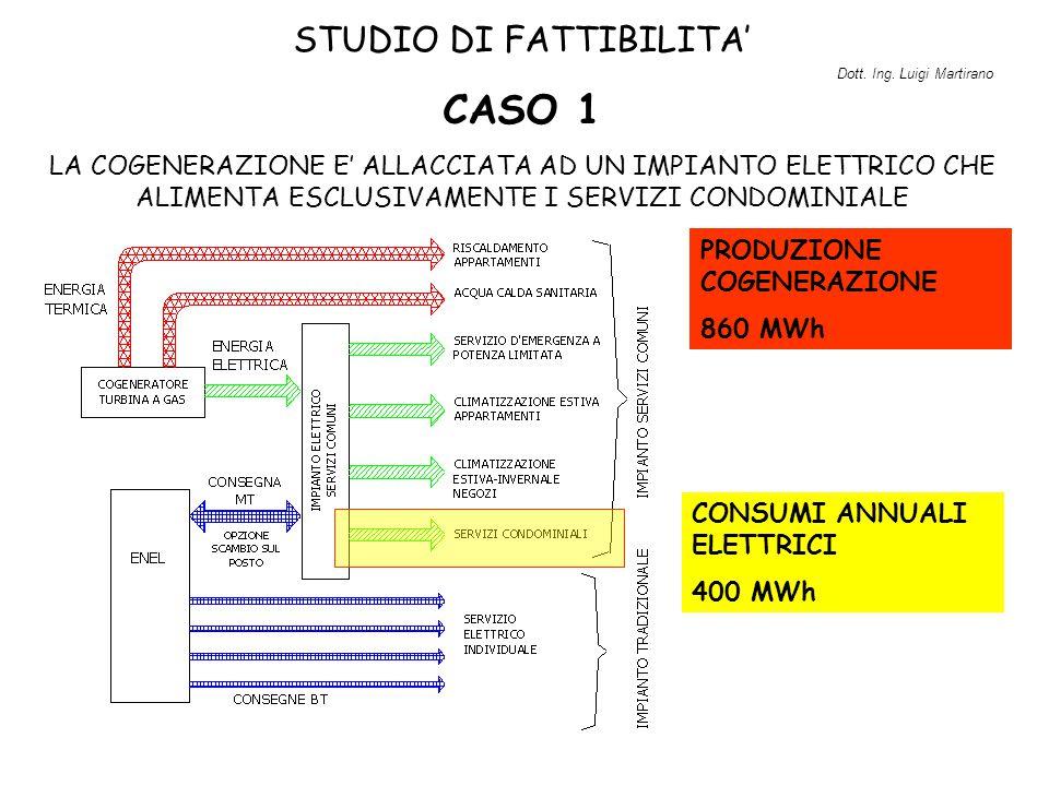STUDIO DI FATTIBILITA' CASO 1 LA COGENERAZIONE E' ALLACCIATA AD UN IMPIANTO ELETTRICO CHE ALIMENTA ESCLUSIVAMENTE I SERVIZI CONDOMINIALE CONSUMI ANNUA