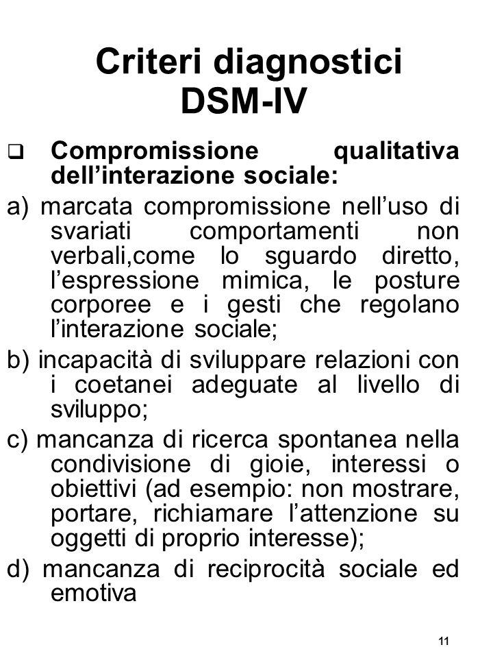 11 Criteri diagnostici DSM-IV  Compromissione qualitativa dell'interazione sociale: a) marcata compromissione nell'uso di svariati comportamenti non verbali,come lo sguardo diretto, l'espressione mimica, le posture corporee e i gesti che regolano l'interazione sociale; b) incapacità di sviluppare relazioni con i coetanei adeguate al livello di sviluppo; c) mancanza di ricerca spontanea nella condivisione di gioie, interessi o obiettivi (ad esempio: non mostrare, portare, richiamare l'attenzione su oggetti di proprio interesse); d) mancanza di reciprocità sociale ed emotiva