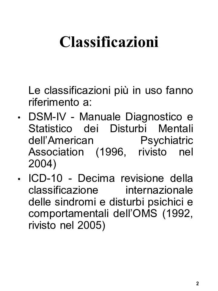 2 Classificazioni Le classificazioni più in uso fanno riferimento a: DSM-IV - Manuale Diagnostico e Statistico dei Disturbi Mentali dell'American Psychiatric Association (1996, rivisto nel 2004) ICD-10 - Decima revisione della classificazione internazionale delle sindromi e disturbi psichici e comportamentali dell'OMS (1992, rivisto nel 2005)