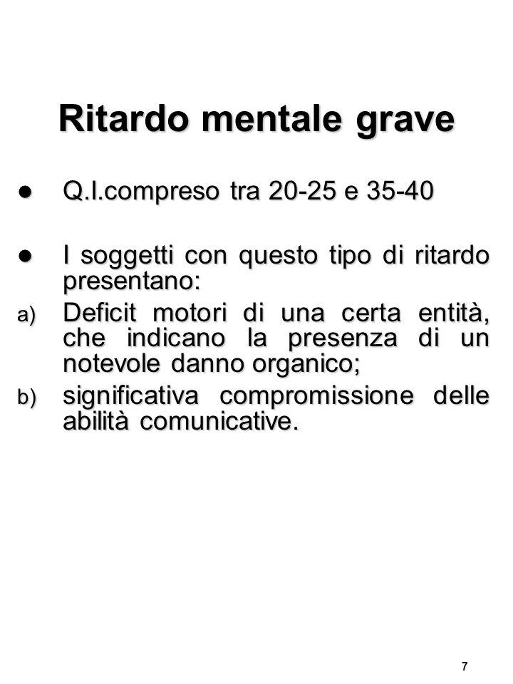 8 Ritardo mentale gravissimo Q.I.inferiore a 20-25 Q.I.