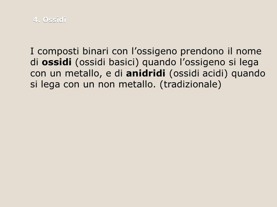 4. Ossidi I composti binari con l'ossigeno prendono il nome di ossidi (ossidi basici) quando l'ossigeno si lega con un metallo, e di anidridi (ossidi