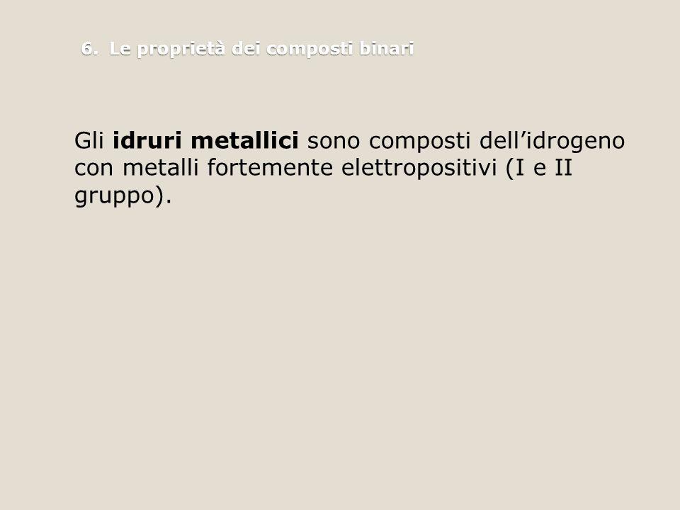 6.Le proprietà dei composti binari Gli idruri metallici sono composti dell'idrogeno con metalli fortemente elettropositivi (I e II gruppo).