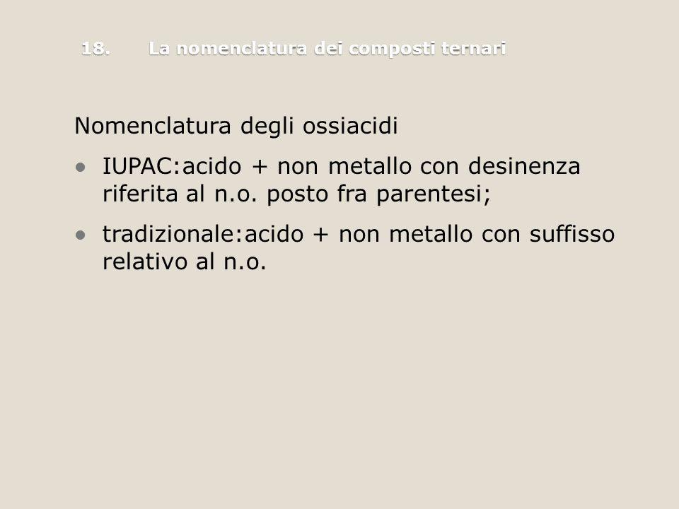 Nomenclatura degli ossiacidi IUPAC:acido + non metallo con desinenza riferita al n.o.
