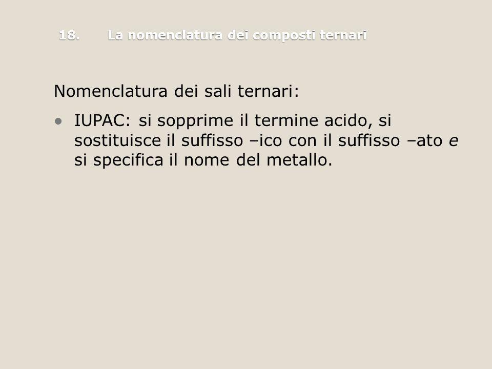 Nomenclatura dei sali ternari: IUPAC: si sopprime il termine acido, si sostituisce il suffisso –ico con il suffisso –ato e si specifica il nome del metallo.